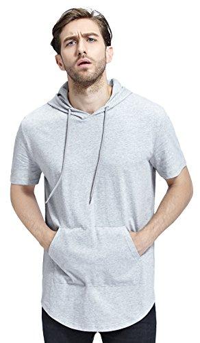 (Bertte Mens Hipster Hip Hop Longline Curved Hem Short Sleeve Hoodie Zipper T-shirt , Solid Color Heather Grey, Medium)