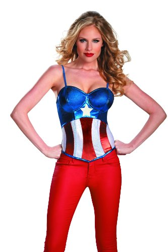 Captain Marvel Female Costume - Disguise Marvel Captain America Fiercely Femme Sassy American Dream Womens Adult Bustier Costume, Red/White/Blue, Medium/8-10
