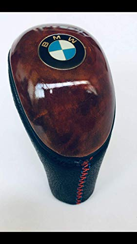 Hacol BMW for Leather Wood Gear Shift KNOB E36 E46 E39 E30 E60 E90 E92 E91 E46 M3 M5 M6 Z4 Z3