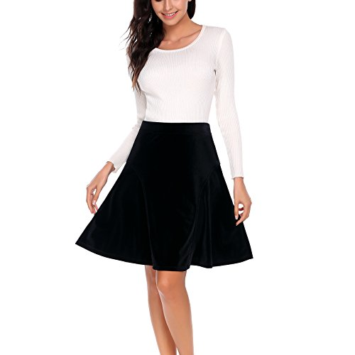 Black Satin Pleated Mini Skirt - Women Black A-line Elegant Velvet Swing Midi Length Pleated Skater Skirt for Girls