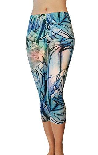 Comfy Yoga Pants – Dry Fit – Slimming Mid Rise Cut – Printed Yoga Legging (Capri Secret Garden)