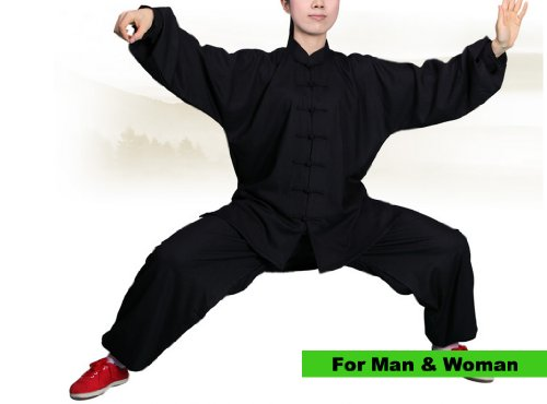 "Tai Chi Uniform - cotton & linen, all natural material Tai Chi Clothing, include long sleeve shirt and pants (Black, Small (5'1"" - 5'4"" & 110 - 140 lbs))"