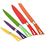 Colored Knives - Sharp Vibrant Stylish Kitchen Knives for Preparing Quick Delicious Meals - Snug Fitting Sheaths and Non-Slip Ergonomic Handles - Perfect Colored Knife Set for Everyday Use