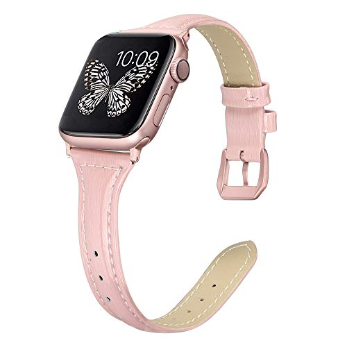 Secbolt Leather Bands Compatible Apple Watch Band 38mm 40mm Stainless Steel Buckle Replacement Slim Glitter Patent Leather Wristband Sport Strap Iwatch Series 4/3/2/1, Pink