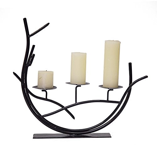 Home-organizer Tech Decorative 3-Candle Pillar Dining Table Decorations Candlestick Candle Lantern Holder Stand for Romance & Love|Weddings|Landscapes & Seascapes|Trees & Wreaths, Churches, Buildings
