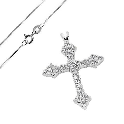 - 925 Sterling Silver CZ Pendant Medieval Cross Crucifix adorned with Round Clear CZ Accent