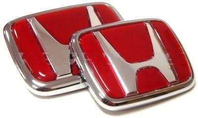 GS LS WZ 2pcs Red Logo Front Rear Emblem Set for JDM Acura RSX Integra Quint RS Type-R GS-R