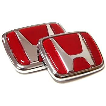 Amazoncom WZ Pc Red FRONT Pc BACK REAR EMBLEM SET FIT FOR - Red acura emblem