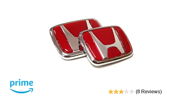 WZ 1pc Red FRONT + 1pc BACK REAR EMBLEM SET FIT FOR ACURA INTEGRA RSX TYPE  R PRELUDE ACCORD CIVIC H0NDA