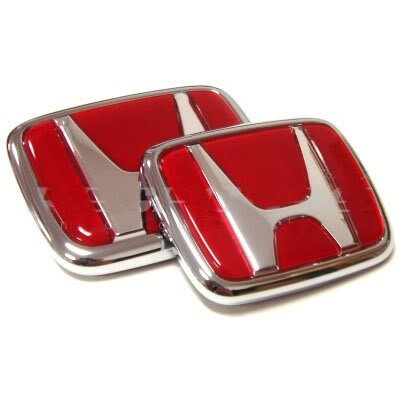(WZ 2pcs Red Logo Front Rear Emblem Set For JDM Acura RSX Integra Quint RS, LS, GS, GS-R, Type-R,)