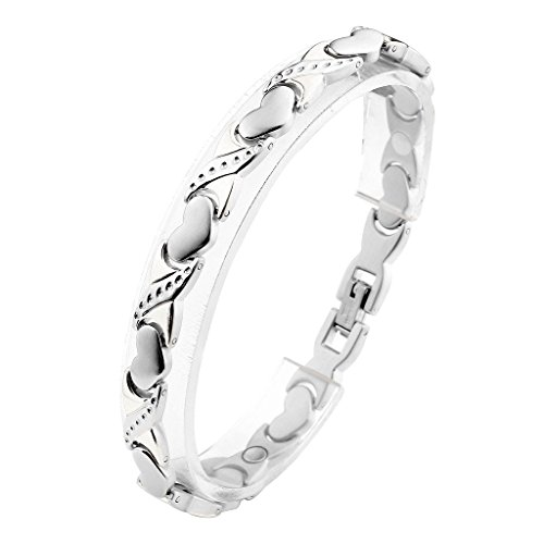 JOVIVI Damen Magnetarmband Edelstahl Magnetische Armreif Magnete Armband Liebe Herz Design Armband Armrief Silber