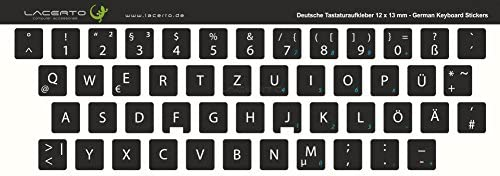 11x13 mm Adesivo QWERTZ per tastiera tedesca PC o laptop opaco nero