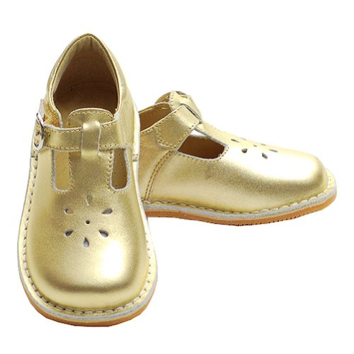 Toddler Girl Gold T Strap Buckle Flower Cut Out Dress Shoe 6