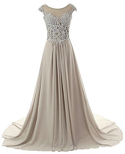 JAEDEN Prom Dresses Long Evening Gowns Lace Bridesmaid Dress Chiffon Prom Dress Cap Sleeve Silver US12
