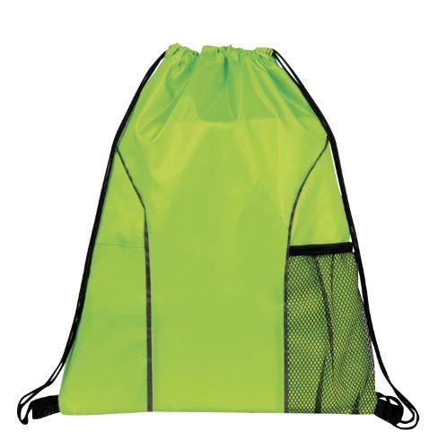Dual Pocket Drawstring Backpack Bag (Lime Green) - Lime Green String
