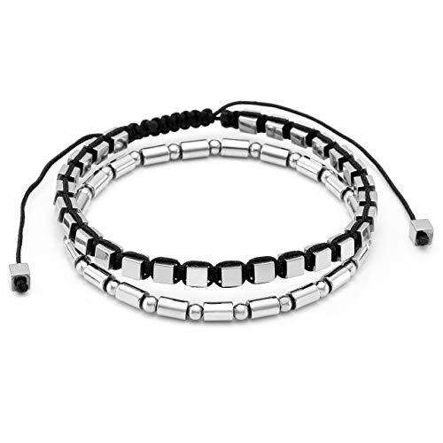 Jovivi 2pcs Hematite Bracelet for Men Women Reiki Healing Cube Braided Bangle Bracelet Energy Therapy Bracelets