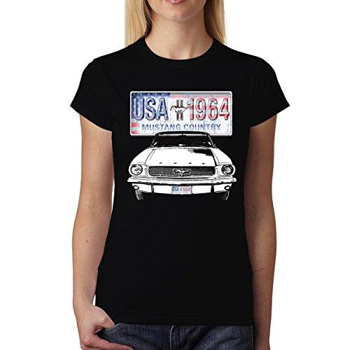 Ford Mustang Auto Coche Mujer Camiseta S-2XL Nuevo Negro