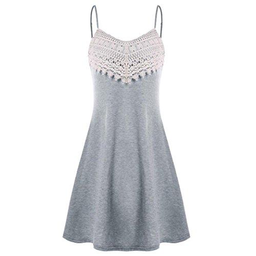iTLOTL Fashion Womens Crochet Lace Backless Mini Slip Dress Camisole Sleeveless Dress