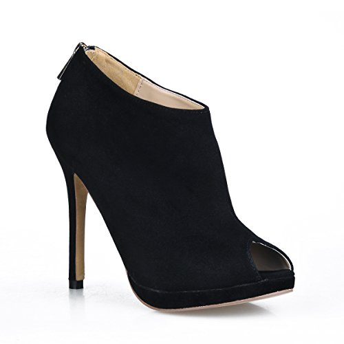 High and boots the girl autumn new products in the fish tip ladies boot large black satin fine high-heel shoes Black