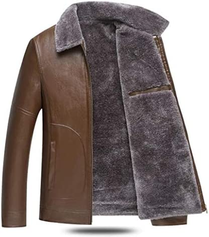 ZJEXJJ Men's leather jacket leather jacket Middle-aged thick motorcycle jacket Winter warm leather jacket (Color : BLACK, Size : L)