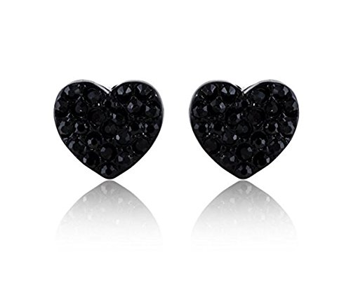 Hypoallergenic Surgical Steel Rhodium Plated Heart Shape Earrings With Cubic Zirconia Stones (Black) Black Heart Earrings