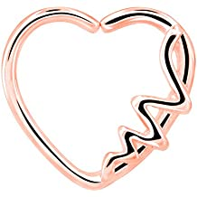 OUFER Body Piercing Jewelry Heart Shaped Waves Left Closure Daith Cartilag Tragus Helix Earring 16Gauge