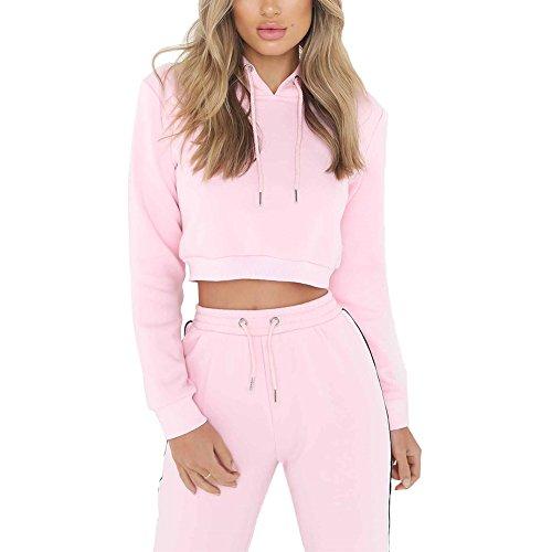 CINDY LOVER Crop Top Set Hoodie Bodycon Solid Pink Long Sleeve For Women (Sweatpants Set)