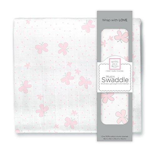 SwaddleDesigns Cotton Swaddle Blanket Butterflies