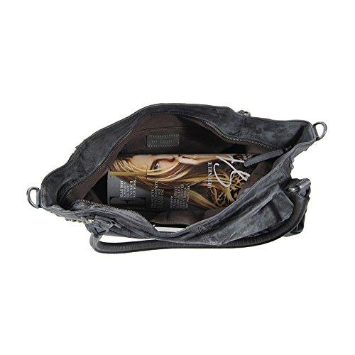 FredsBruder ornamenta ledershopper sac à main vintage pour femme gris anthracite