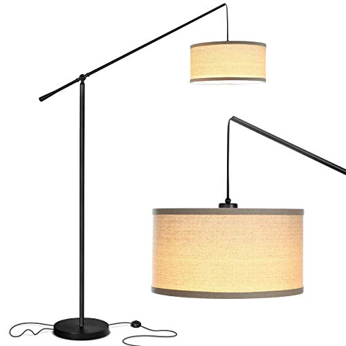 Brightech Hudson 2 - Living Room LED Arc Floor Lamp For Behind the Couch - Alexa Compatible Pole Hanging Light To Stand Up Over the Sofa - with LED Bulb - Floor Lamp Arc Big