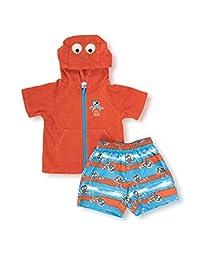 Wippette Little Boys' Toddler Pirat Octopus Coverup Swim Trunk Set, Orange, 3T