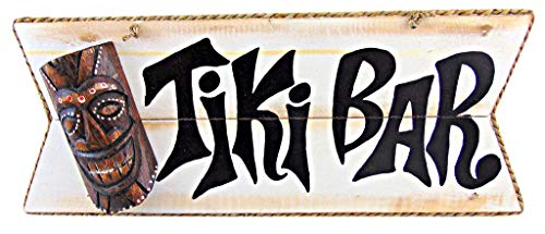 Tiki Bar Mask Wooden Wall Decor Sign Tropical Decoration, 15 Inches Long