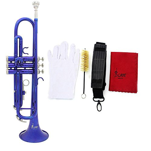 SSJSHOP Brass Blue-Plated Beginner Trumpet