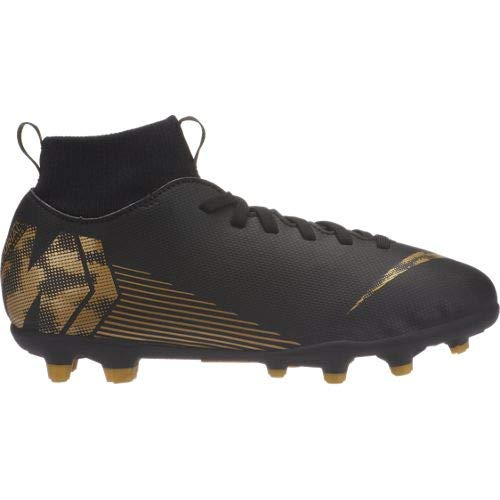 Nike Kids Jr Superfly 6 Club (MG) Soccer Cleat Black/Metallic Vivid Gold Size 6 M US