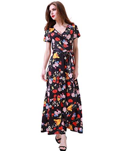 Melynnco Women's Vintage Floral Faux Wrap V Neck Short Sleeve Maxi Dress X-Large Black