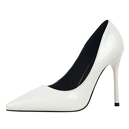 On 37 Closed PU High Heels Women's AmoonyFashion Pumps Solid Shoes Pull Toe White XqIaW7w