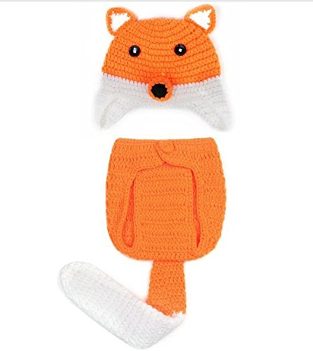My Micson Baby Crochet Fox Inspired Photography Prop, Orange