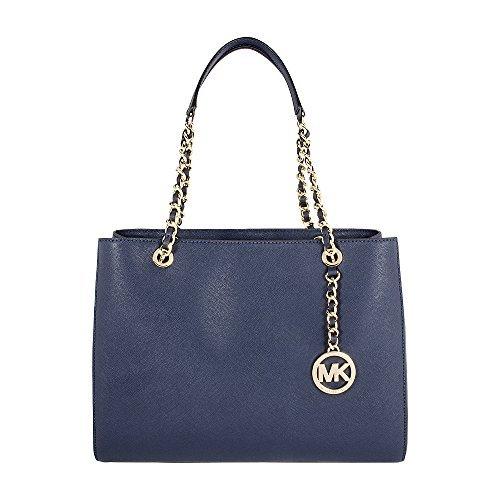 - MICHAEL Michael Kors Susannah Large Tote Satchel Leather Handbag (Navy)