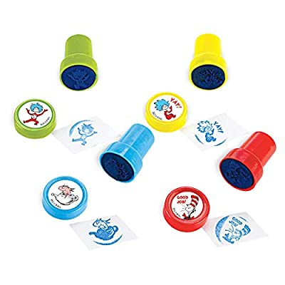 Amscan Dr. Seuss Cat in The Hat Stampers, Blue Ink, 6 Ct. Party Favors: Home & Kitchen