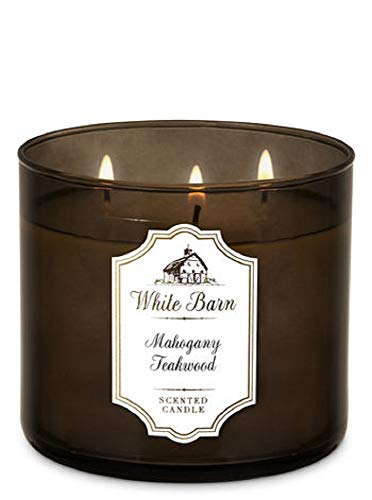 Bath & Body Works, White Barn 3-Wick Candle, Mahogany Teakwood