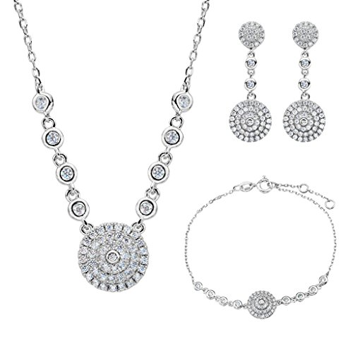(EVER FAITH 925 Sterling Silver CZ Elegant Circle Round Pendant Necklace Earrings Bracelet Set Clear)