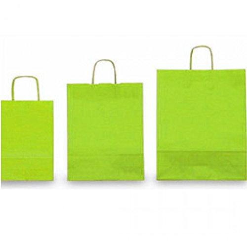 Misure 14x09x20 25 pz. Memotak Shopper Kraft Buste Tinta Unita Verde Mela