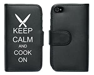 Black Apple iPhone 5 5S 5LP197 Leather Wallet Case Cover Keep Calm and Cook On Chef Knives wangjiang maoyi