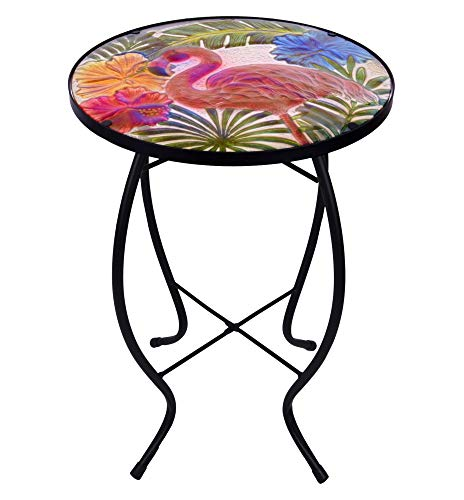 Hand Painted Plant Stand - Continental Art Center Inc. CAC3605862 14'' Hand Painted Flamingo Glass Plant Stand/Side Table for Indoor and Outdoor use, Red