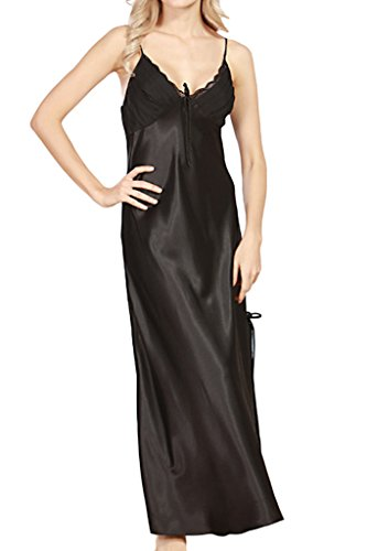 Asherbaby Women's Sexy Satin Long Nightgown Lace Slip Lingerie Chemise Robes Black US 8-10 = Tag XL]()