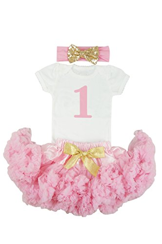 PoshPeanut 1st Birthday Pink Skirt with Gold Bow Outfit in Short Sleeve - First Birthday, Baby Girl Dress Clothing for Her Special Day (12-24 (Outfits For Tweens)