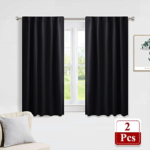 PONY DANCE Blackout Curtain Set - Nursery Panels Thermal Insulated Window Treatments Back Tab/Rod Pocket Light Blocking Drapes Bedroom, 42 Wide 45 inch Long, Black, Two Panels - Window Panel Fabric