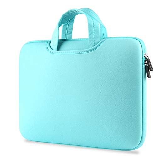 TechCode 15.6 inch Laptop Sleeve Case, Laptop Sleeve Foam Case Bag Multi-Functional Pocket Briefcase Outdoor Carrying Pouch Skin Cover for 15.6 Inch Laptops Notebook Computers Ultrabooks (Light Blue) by TechCode (Image #2)