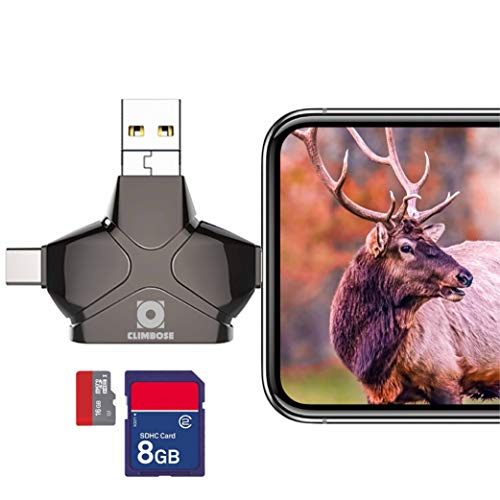 Climbose Trail Camera SD Card Reader Fits Android iPhone iPad Mac MP3 USB Connection Multi-System Compatible Micro Memory Hunting Pictures Videos Viewer(Card Reader, Black)