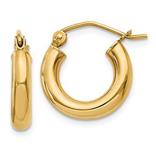 Small 14K Yellow Gold Thick Tube Hoop Earrings, (3mm Tube) (15mm) 14k Yellow Gold Thick Hoop